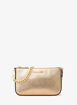 Michael Kors Mercer Metallic Leather Chain Wallet - GOLD - STYLE