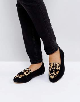 Office Fedora Leopard Print Flat Suede Shoes