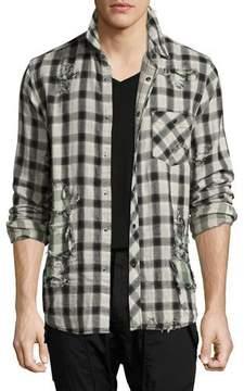 Hudson Weston Distressed Plaid Shirt, Black/White