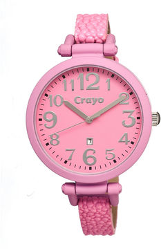 Crayo Womens Balloon Pink Leather-Band Watch With Date Cracr0606