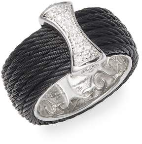 Alor Women's Cable 18K White Gold & Sterling Silver Diamond Band Ring