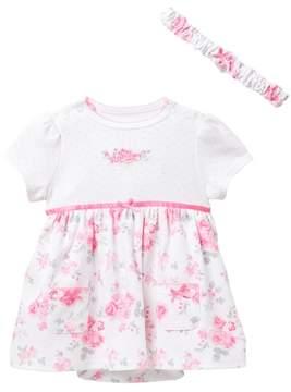 Little Me Sweet Rose Bodysuit Dress & Headband Set (Baby Girls)