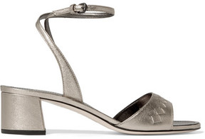 Bottega Veneta Metallic Intrecciato Leather Sandals - Silver