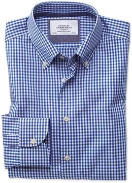 Charles Tyrwhitt Slim Fit Button-Down Business Casual Non-Iron Royal Blue Cotton Dress Shirt Single Cuff Size 15.5/33