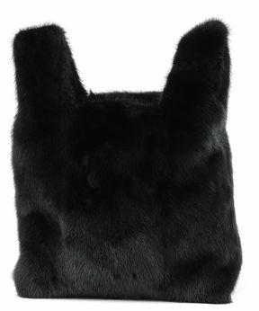 Black Mink's Fur Handle Bag