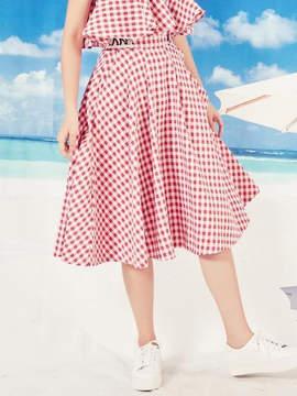Blank Check Flared Skirt-Rd