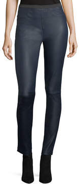Neiman Marcus Leather Collection Pull-On Lamb Leather Leggings