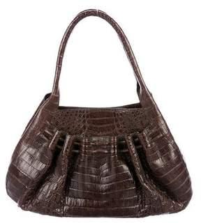 Nancy Gonzalez Ruched Crocodile Shoulder Bag