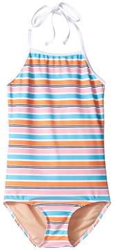 Toobydoo One-Piece Pink Aqua Stripe Swimsuit (Infant/Toddler/Little Kids/Big Kids)