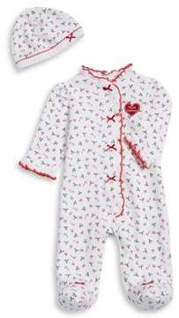 Little Me Baby Girl's Two-Piece Christmas Cotton Footie and Hat Set