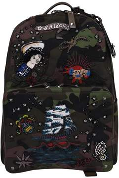 Valentino Tattoo Embroidered Backpack