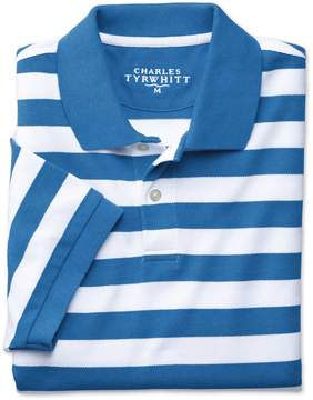 Charles Tyrwhitt Blue and White Stripe Melange Pique Cotton Polo Size Large