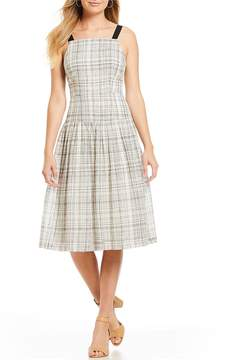 Donna Morgan Sleeveless Linen Plaid Fit and Flare Dress
