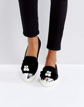 Miss KG Lottie Velvet Pearl Detail Sneakers