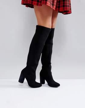 Glamorous Black Block Heel Over The Knee Boots