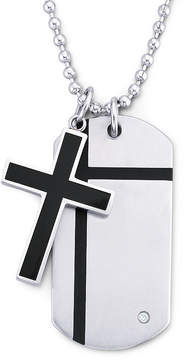 JCPenney FINE JEWELRY Mens Cross Dog Tag Pendant Necklace