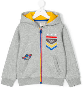 Emporio Armani Kids logo embroidered hooded sweatshirt