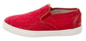 Dolce & Gabbana Girls' Lace Slip-On Sneakers