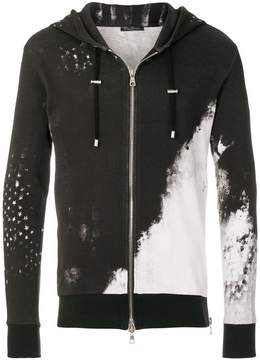 Balmain graphic print zip hoodie