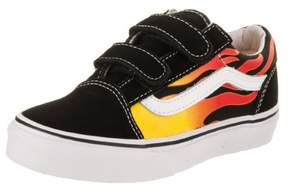 Vans Kids Old Skool V (Flame) Black/Black/Tr/Wht Skate Shoe 12.5 Kids US