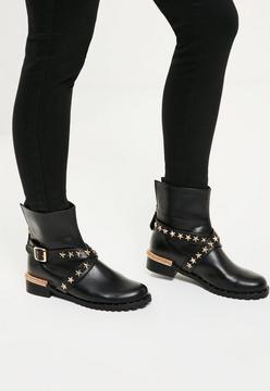 Missguided Black Star Detail Biker Boots