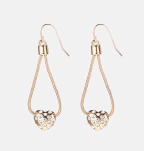 Avenue Rhinestone Heart Mesh Earrings