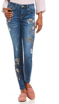 Democracy Floral Embroidered Seamless Ankle Skimmer Jeans