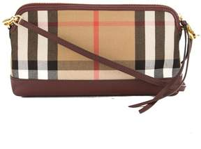 Burberry Bordeaux Leather and House Check Abingdon Clutch Bag - BORDEAUX - STYLE