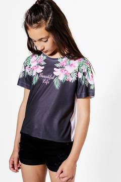 boohoo Girls Palm Beautiful Cropped Tee
