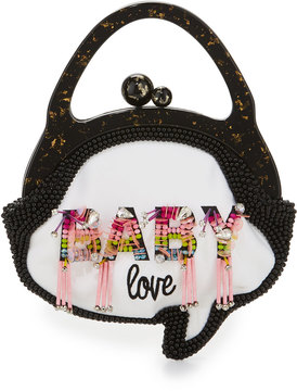 Sophia Webster Baby Love Beaded Speech Bubble Bag, Pink