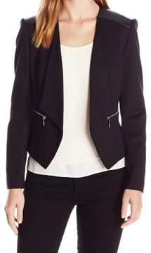 Nine West Black Women's Size 2 Faux Leather Trim Open Jacket