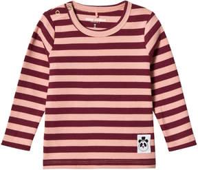 Mini Rodini Pink Striped Rib Long-Sleeved Tee