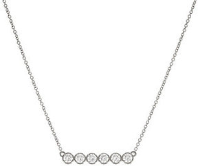 Diamonique As Is DMQ. Textured Bar Design Necklace, Sterl or 14K Clad
