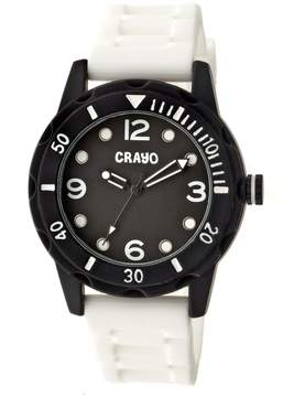 Crayo Splash Black Dial White Silicone Unisex Watch