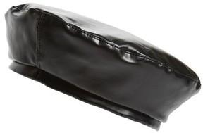 Steve Madden Women's Faux Leather Beret - Black