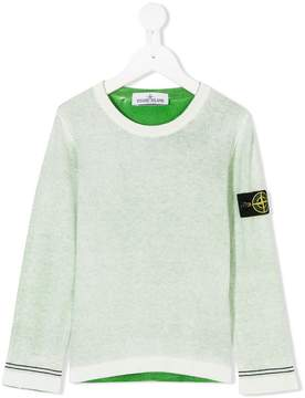Stone Island Junior knitted logo plaque sweater