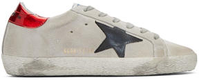 Golden Goose Deluxe Brand Grey and Red Suede Superstar Sneakers