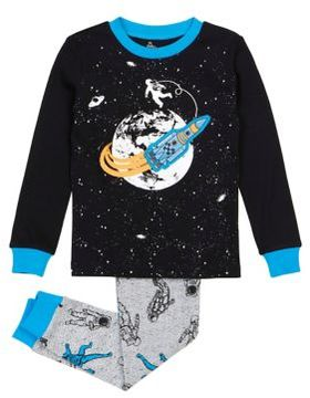 Petit Lem Little Boy's Two-Piece Rocket and Astronauts Top and Pants Pajama Set