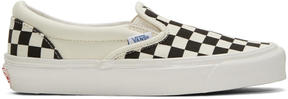 Vans Off-White and Black Checkerboard OG Classic Slip-On Sneakers