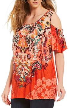 Democracy Plus Size Cold Shoulder All Over Print Top