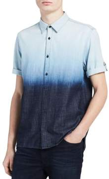 Calvin Klein Jeans Mens Dip-Dye Cross hatch Casual Shirt