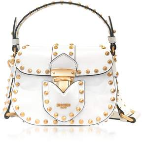 Moschino White Leather Crossbody Bag w/Golden Studs