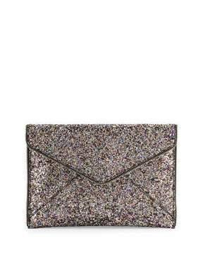 Rebecca Minkoff Leo Glitter Envelope Clutch Bag, Silver/Multi - SILVER MULTI - STYLE