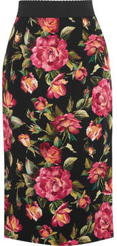 Dolce & Gabbana Rose Printed Crepe Skirt - Pink