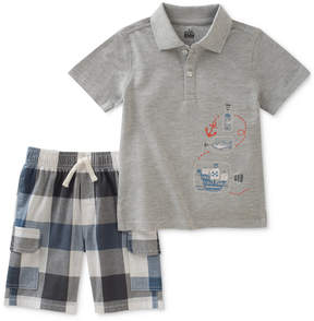 Kids Headquarters 2-Pc. Graphic-Print Cotton Polo Shirt & Checked Shorts Set, Toddler Boys