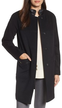 Ellen Tracy Women's Wool Blend Topper With Removable Stand Collar