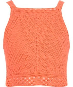 River Island Girls coral crochet crop top