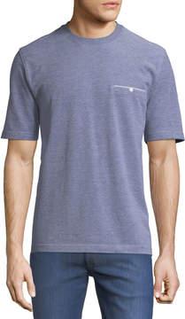 Neiman Marcus Crewneck Welt-Pocket Textured Tee, Gray