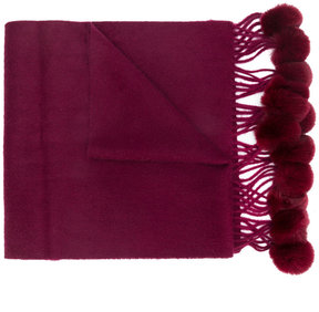 N.Peal fur bobble trim scarf