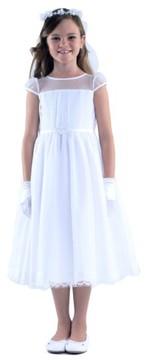 Us Angels Girl's Illusion Neckline Dress
